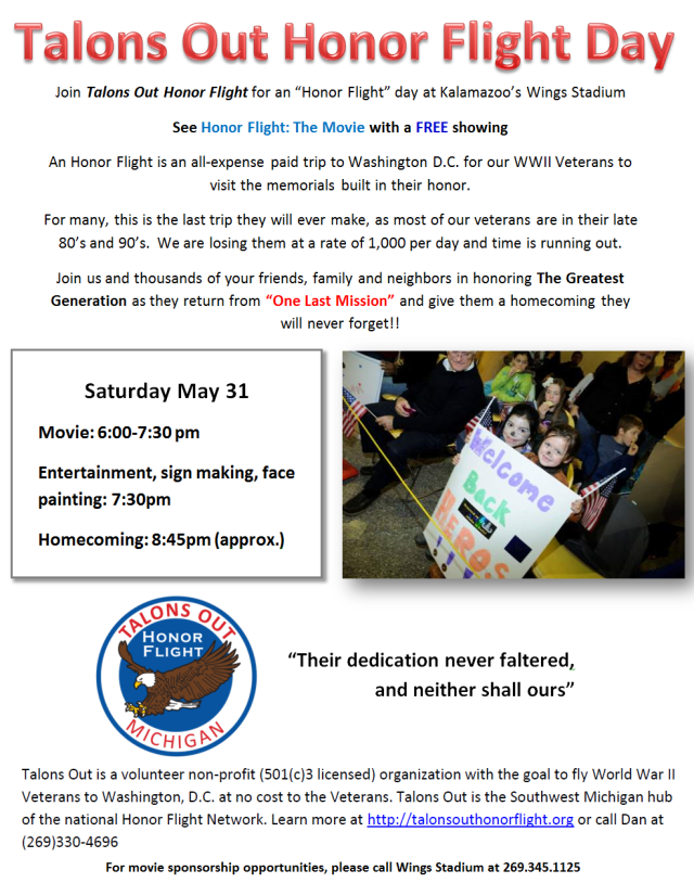 Talons Out Honor Flight Day information May 31